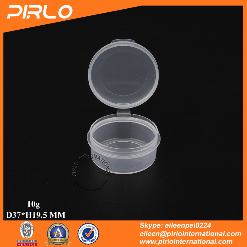 10g Translucent color plastic jar with flip top cap empty pharmaceutical pills medicine packaging PP plastic jar with hing lid