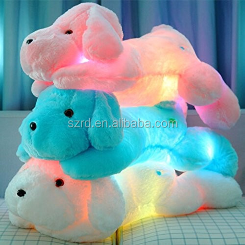 Customized puppy animal pillow/ Night Light LED Stuffed Animals dog toy/ Plush Toys Gifts for Kids