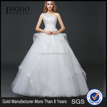 MGOO Custom Made One Shoulder White Beaded Magic Dress Company Ballgown Bridal Party Dress New Style