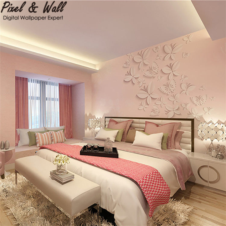 Pink Background U003cstrongu003ebutterflyu003c/strongu003e Relief Mural Wallpaper For  U003cstrong