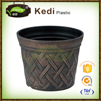 Save 10% free samples brushing paint plastic eco-friendly Casting brass yellow color antique outdoor flower pot NTBF-FL005Y