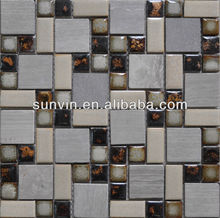 Glazed ceramic and marble stone mosaic pattern art for kitchen room