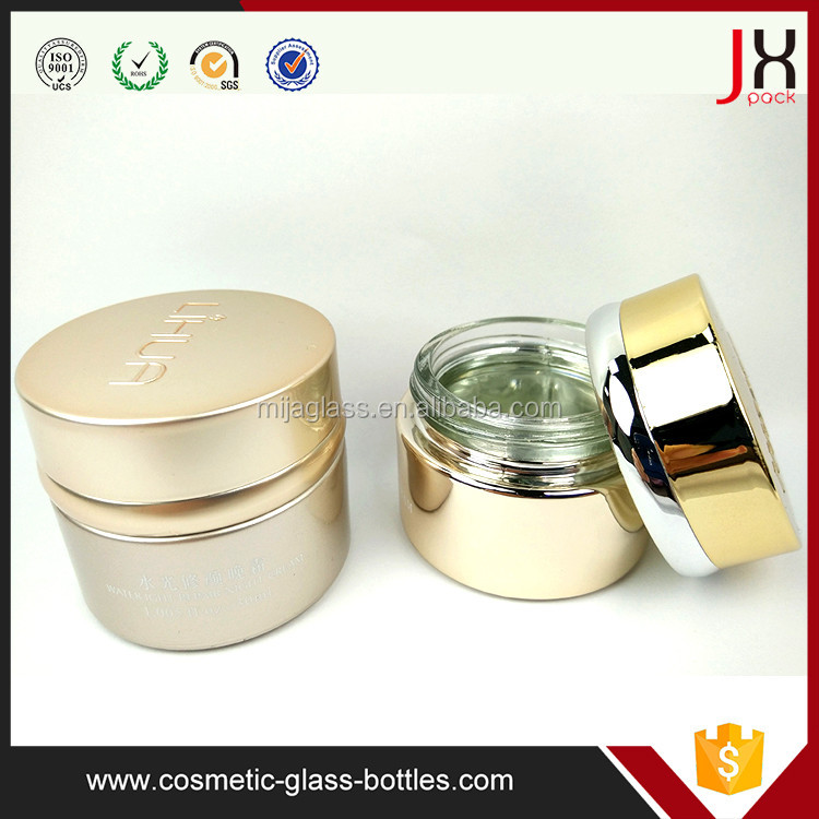 2016 New Luxury 20/30/40/50/60/100ml Cosmetic Ceramic Jar/Bottle/Packaging 20g 30g 50g Cream Cosmetic Glass Jars with Gold Lid