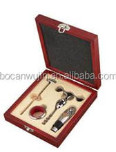 4Pieces wine corkscrew gift set in MDF red wine wooden box