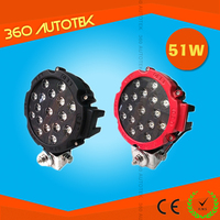 Popular! 10v-60v 51w 6500k 17pcs led LED Work Lamp IP67,CE,ROHS high quality4x4 off road light 51w