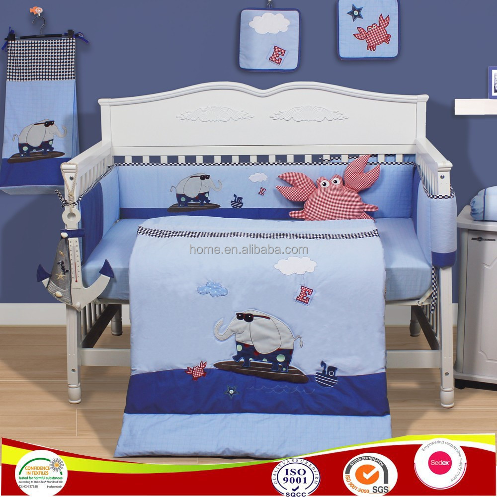 2015 new designs 100 cotton elephant baby bedding sets boy baby patchwork crib bedding crib sets cot beddings
