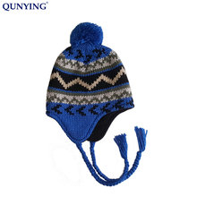 Jacquard Knitted Warm Ski Beanie earflap Winter Hat