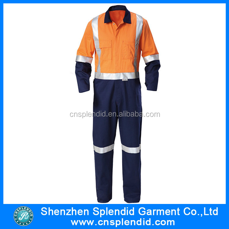 Custom Design Khaki Flame Retardant Coveralls With Reflector