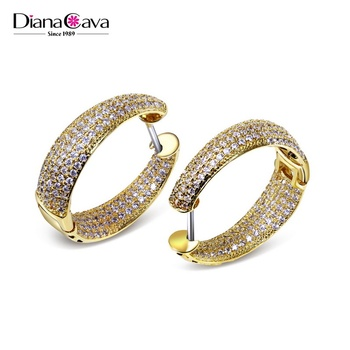 Hot Style Beautiful design Huggie Cubic Zirconia crystals Gold and Rhodium plated Hoop earrings
