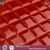 5 facets red mosaic glass mirror wall glass wall tiles