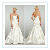 New A-line Elastic Woven Satin Simple Plain Wedding Dress With Removable Jacket (WDJL-1022)