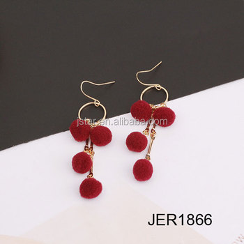 Ladies earrings designs pictures hair ball pendant jewelry earrings