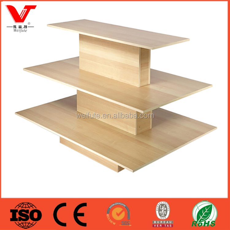 High end 3 tiers retail store wood clothing display tables for shops