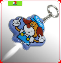 custom cartoon shpe full color print pvc mini led torch light keychain