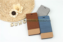 Denim & PU Leather Stand Flip Case Mobile Phone Bags Cases for Huawei Ascend G510