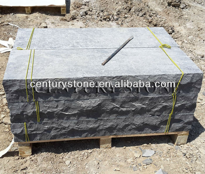 6 inch thickness flamed surface with rock cut 3 sides china blue limestone steps
