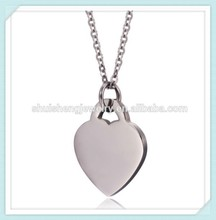 Laser engraved available yiwu factory wholesale simple stainless steel silver heart pendant necklace