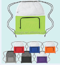 promotional 210D drawstring shopping bag with mesh