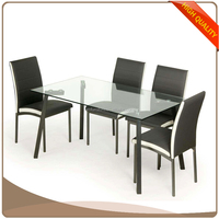 Modern promotion tempered glass top restaurant dining table