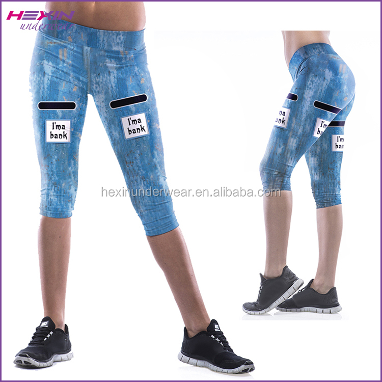 Blue Cute Adult Women Yoga Wear Three Quarter Manufacturing of Legging