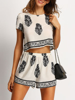 Two Piece Boutique Outfits Women Clothing Beige Tree Print Crop Top With Shorts Colour Combination Fancy Ladies Suits