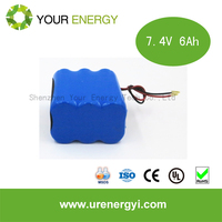 Factory price battery pack 7.4v 6ah batteries 6000mah 2s2p lithium battey