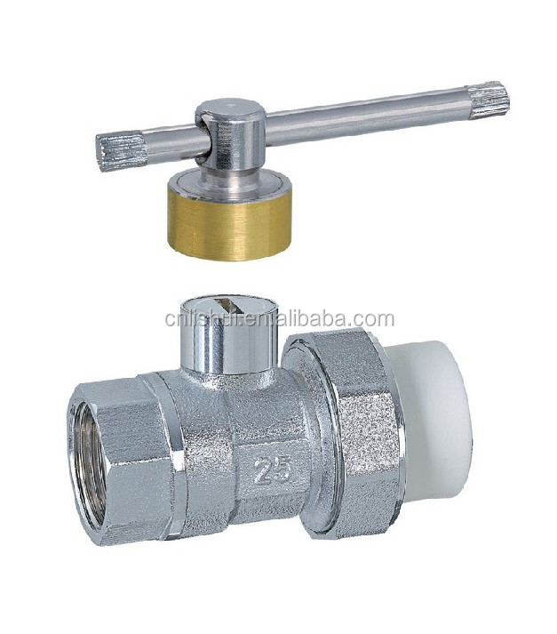 Single PP-R Chrome Plated Magnetic Lockable Brass Ball Valve(Female)