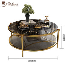 Modern Living Room Furniture Chrome Metal Base Two Levels Luxury Round Black Glass Top Coffee Table