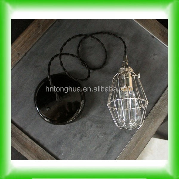 Vintage Industrial Silver Cage Inspection Lamp with Edison Filament Bulb, Lamp Holder& Fabric Cable