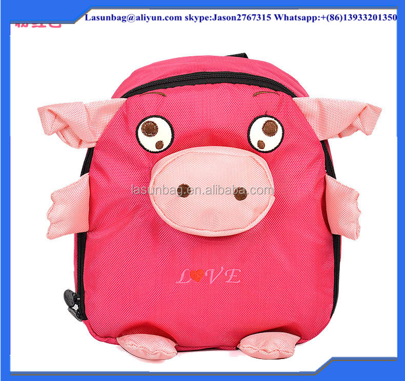 HOt Cute Pink Pig Canvas Kindergarten Kids Cartoon Animal Design Backpack for Little Girls and Boys