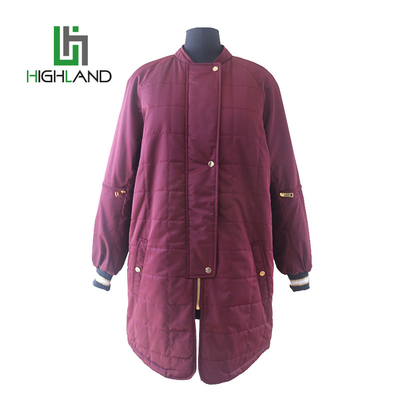 wholesale cheap long bomber jacket for winter plus size woman coat zipper jackets