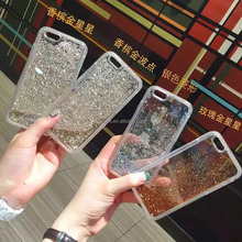 2 in 1 TPU PC Dual Layer Glitter Quicksand Liquid Phone Case for iphone 6 6 plus 7 7 plus