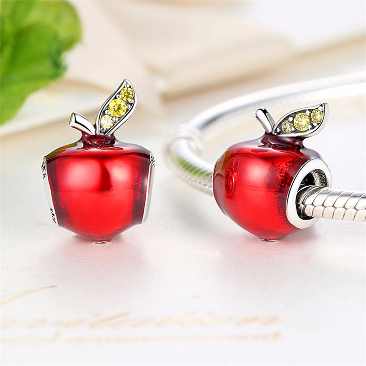 Jewelry Supplier Red Apple Silver Charms