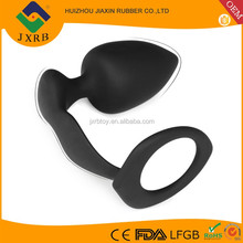 Adult anal sex toys full silicone male anal massager, cockring prostate, black silicone anal prostate tools