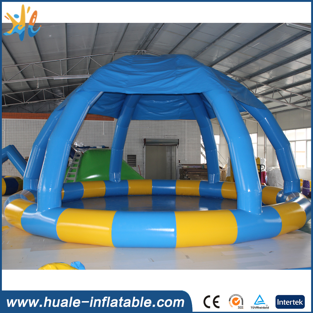 Durable round inflatable pool rental with tent, inflatable swimming pool for sale