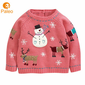 Custom Factory winter knitted 100% cotton pullover Baby girl christmas sweater