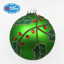 Glitter mistletoe decoration glass Christmas ornament bauble