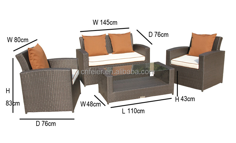A6017sf rattan furniture with logo synthetic rattan for Sofas mimbre exterior