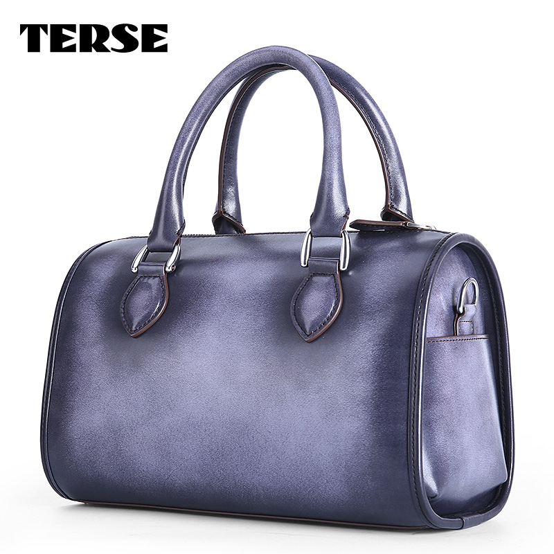 TERSE luxury custom design barrel bag women handcrafted genuine leather tote bags factory supply