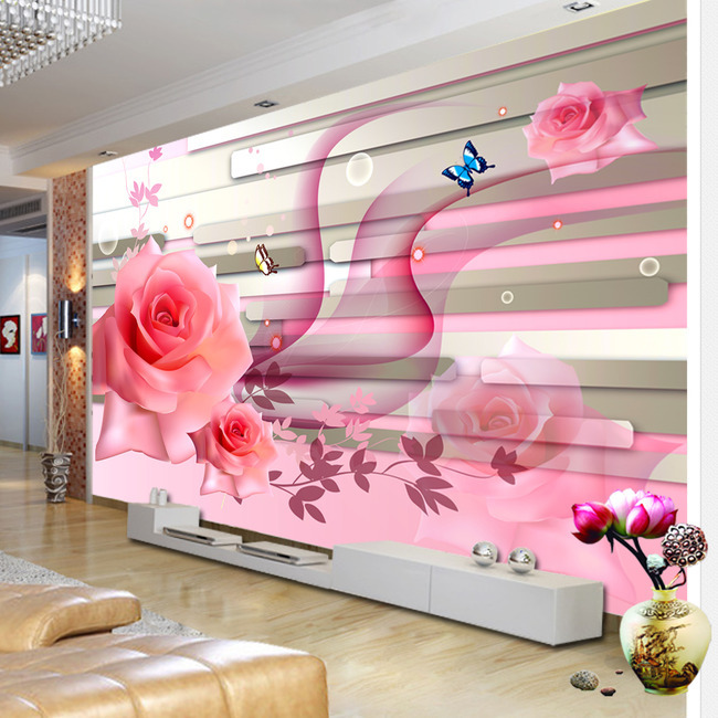 Custom colorful home decor idyllic contact paper floral wall murals vintage wall paper