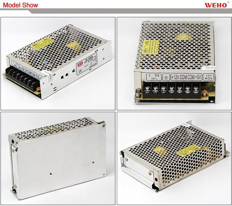 2-year Warranty 50W Dual output switching power supply dual voltage output smps