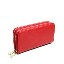 india hot sale leather holder wallet 2 long zipper old fashion women wallets