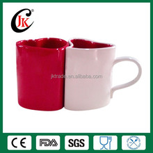 Wholesale red color heart shape ceramic couple mug for coffee