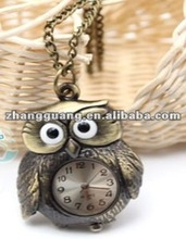 2012 fashion owl Pocket watch necklace pendant