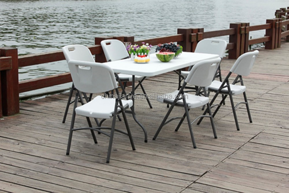 Plastic outdoor party tables and chairs