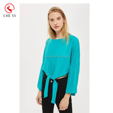 Hot selling t shirts in alibaba fashion clothing 2017 knot front women top
