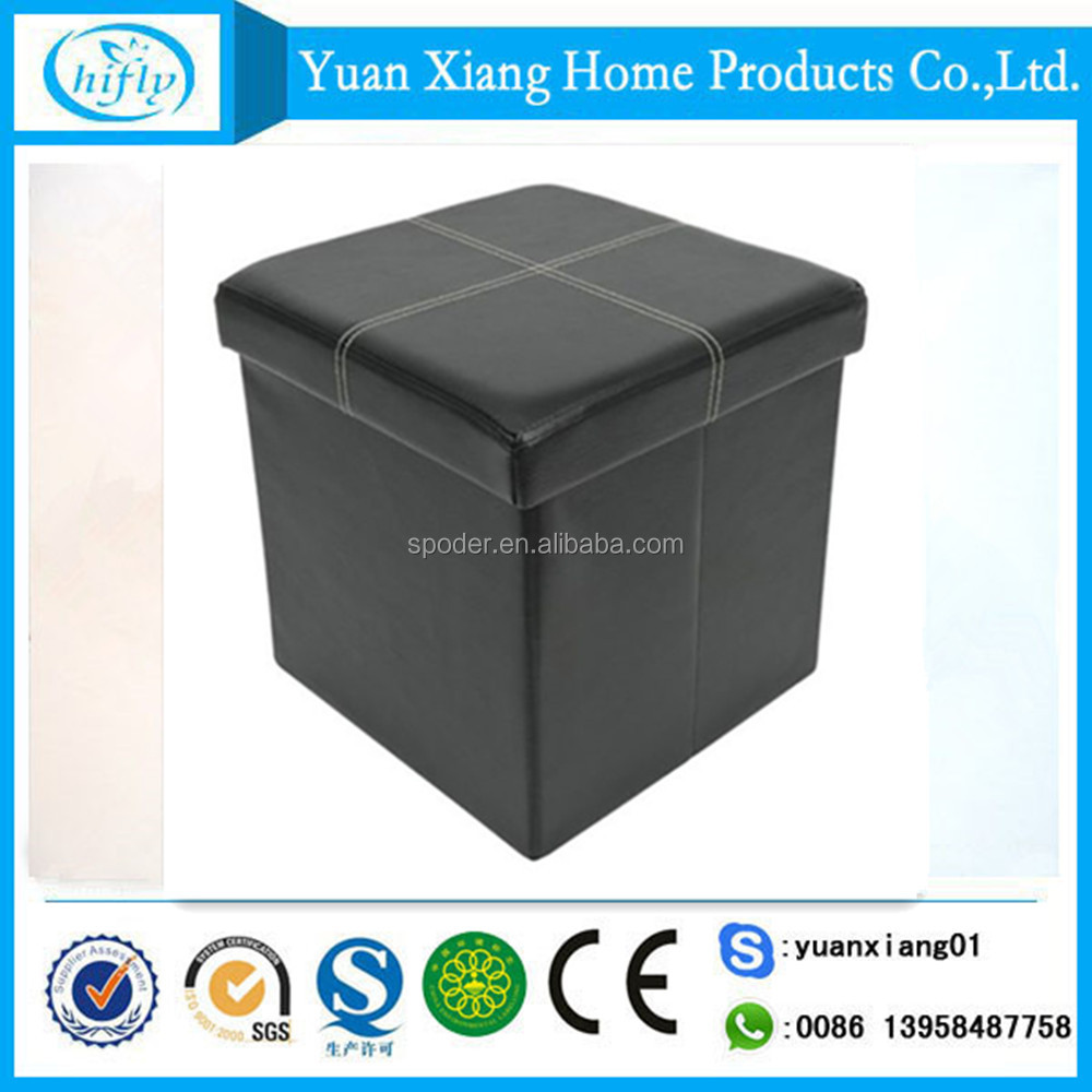 Hot sale waterproof folding faux leather storage stool with lid