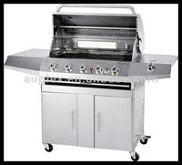 Wholesale stainless steel outdoor 5 burners gas bbq grill with back burner and side oven