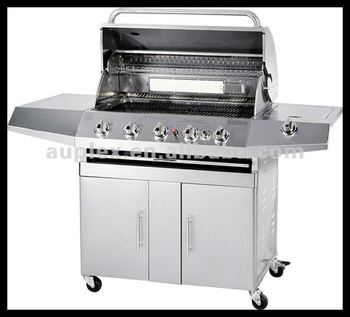 stainless steel outdoor 5 burners gas bbq grill with back burner