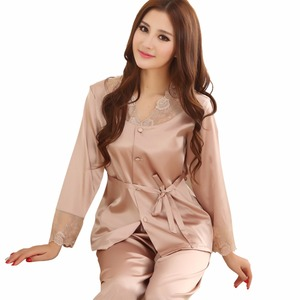 Womens Sleepwear Silk Pajamas Satin Pajamas Silk Sling Nightdress Nightgown Two-piece Pajamas Sexy Lace Tracksuit M-2XL 5 Color